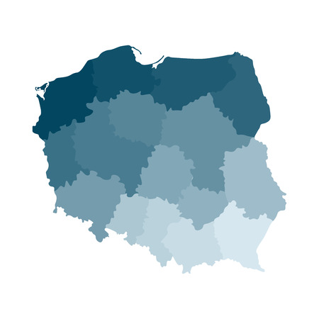 Vector isolated illustration of simplified administrative map of Poland. Borders of the regions. Colorful blue khaki silhouettes. Stock Illustratie