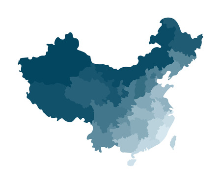 Vector isolated illustration of simplified administrative map of China. Borders of the regions. Colorful blue khaki silhouettes.