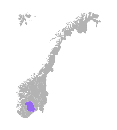 Vector isolated simplified illustration with grey silhouette of Norway, violet contour of Telemark region and white outlines of norwegian borders. White background Stock Illustratie