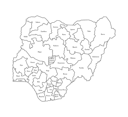 Vector isolated illustration of simplified administrative map of Nigeria. Borders and names of the regions. Black line silhouettes.