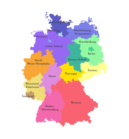 Vector isolated illustration of simplified administrative map of Germany. Borders and names of the states (regions). Colorful silhouettes. White background