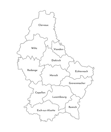 Vector isolated illustration of simplified administrative map of Grand Duchy of Luxembourg. Borders and names of the cantons. Black line silhouettes. 向量圖像