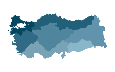Colorful vector isolated simplified map of Turkey regions (blue silhouettes). Administrative divisions  イラスト・ベクター素材