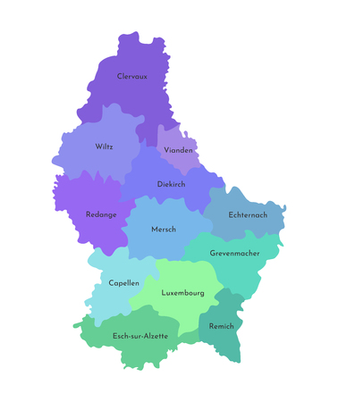 Vector isolated illustration of simplified administrative map of Grand Duchy of Luxembourg. Borders and names of the cantons. Multi colored silhouettes.
