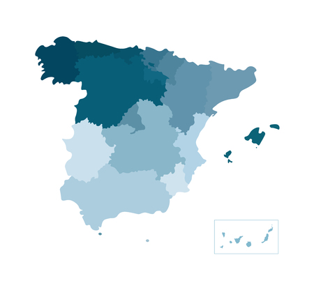 Vector isolated illustration of simplified administrative map of Spain. Borders of the counties. Blue khaki colors of silhouettes. White outline and background Illustration