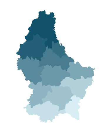 Vector isolated illustration of simplified administrative map of Grand Duchy of Luxembourg. Borders of the cantons. Colorful blue khaki silhouettes. 向量圖像