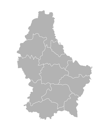 Vector isolated illustration of simplified administrative map of Grand Duchy of Luxembourg. Borders of the cantons (regions). Grey silhouettes. White outline. 向量圖像