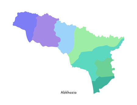 Vector isolated illustration of simplified administrative map of Abkhazia. Borders of the regions. Multi colored silhouettes.