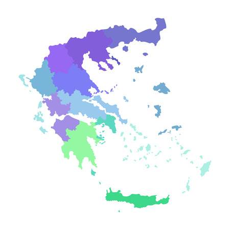 Vector isolated illustration of simplified administrative map of Greece. Borders of the regions. Multi colored silhouettes. 向量圖像