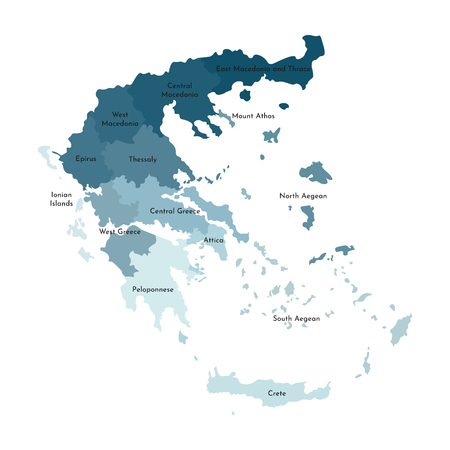 Vector isolated illustration of simplified administrative map of Greece. Borders and names of the regions. Colorful blue khaki silhouettes.
