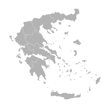 Vector isolated illustration of simplified administrative map of Greece. Borders of the provinces (regions). Grey silhouettes. White outline. Stock Illustratie
