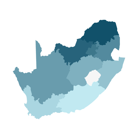 Vector isolated illustration of simplified administrative map of South Africa. Borders of the regions. Colorful blue khaki silhouettes.