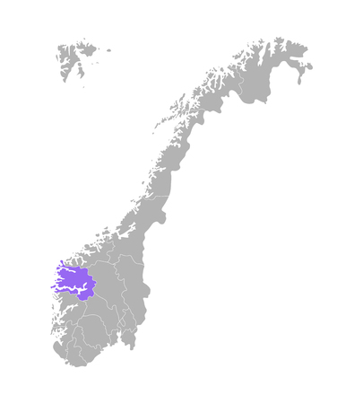 Vector isolated simplified illustration with grey silhouette of Norway, violet contour of Sogn og Fjordane region and white outlines of norwegian borders. White background