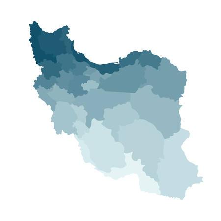 Vector isolated illustration of simplified administrative map of Iran. Borders of the provinces. Colorful blue khaki silhouettes. Stock Illustratie