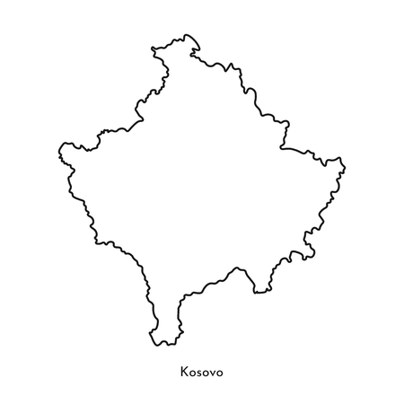 Vector isolated simplified illustration icon with black line silhouette of Kosovo map. White background.