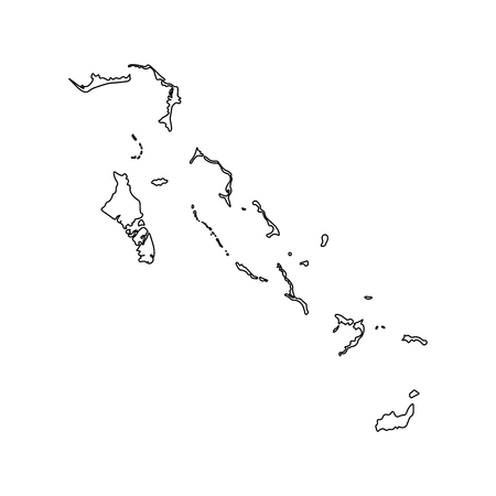 Vector isolated illustration icon with black line silhouette of simplified map of Bahamas.