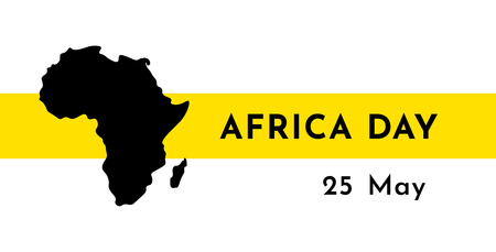 Vector illustration card with black silhouette of continent Africa. Text Africa Day. 25 May. Yellow stripe. White background.