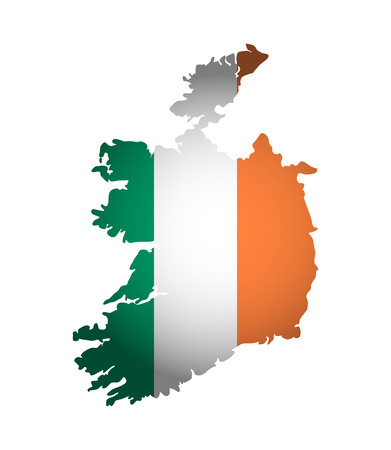 Vector illustration with irish national flag with shape of Ireland map. Orange, white, green colors. Volume shadow on the map.