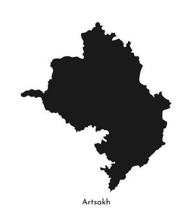 Vector isolated simplified illustration icon with black silhouette of Artsakh (Nagorno-Karabakh Republic) map. White background. Stock Illustratie