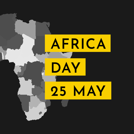 Vector illustration card with grey silhouette of continent Africa with states borders. Text Africa Day. 25 May. Black background.