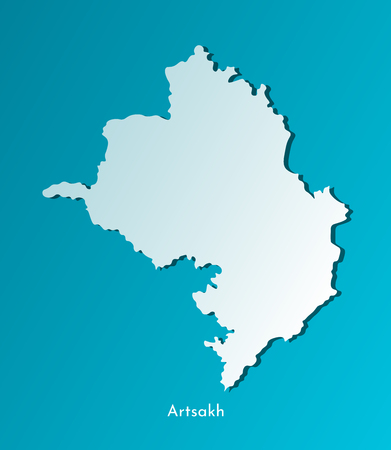 Vector isolated simplified illustration icon with blue silhouette of Artsakh map (Nagorno-Karabakh Republic). Dark blue background.