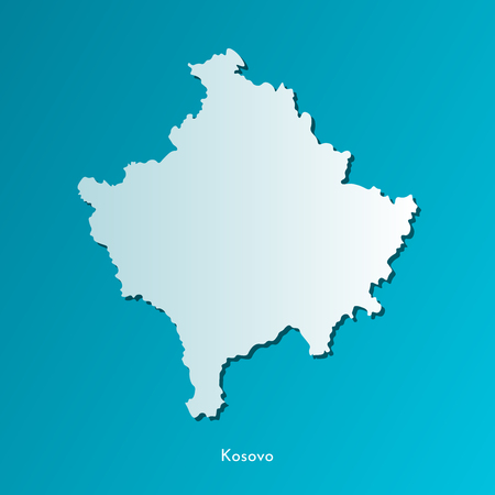 Vector isolated simplified illustration icon with blue silhouette of Kosovo map. Dark blue background.