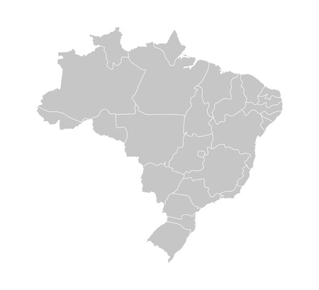 Vector isolated illustration of simplified administrative map of Brazil. Borders of the provinces (regions). Grey silhouettes. White outline.