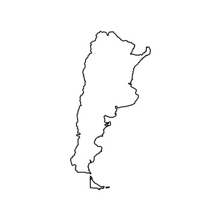 Vector isolated illustration icon with black line silhouette of simplified map of Argentina.