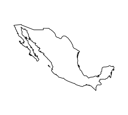 Vector isolated illustration icon with black line silhouette of simplified map of Mexico.