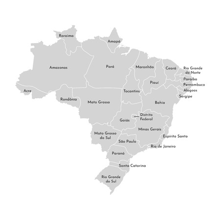 Vector isolated illustration of simplified administrative map of Brazil. Borders and names of the provinces (regions). Grey silhouettes. White outline.