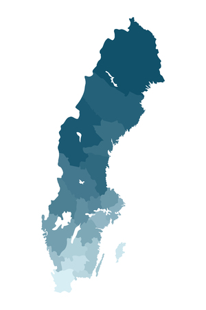 Vector isolated illustration of simplified administrative map of Sweden. Borders of the counties. Colorful blue khaki silhouettes. Stock Illustratie