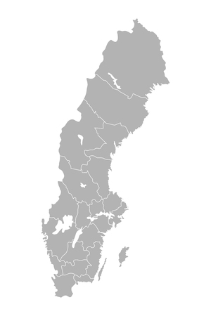Vector isolated illustration of simplified administrative map of Sweden. Borders of the counties (regions). Grey silhouettes. White outline. Stock Illustratie