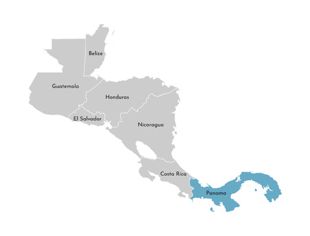 Vector illustration with simplified map of Central America region with blue contour of Panama. Grey silhouettes, white outline of states border.