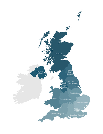 Vector isolated illustration of simplified administrative map of the United Kingdom of Great Britain and Northern Ireland. Borders and names of the regions. Colorful blue khaki silhouettes.  イラスト・ベクター素材