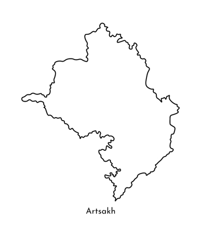 Vector isolated simplified illustration icon with black line silhouette of Artsakh map (Nagorno-Karabakh Republic). White background.