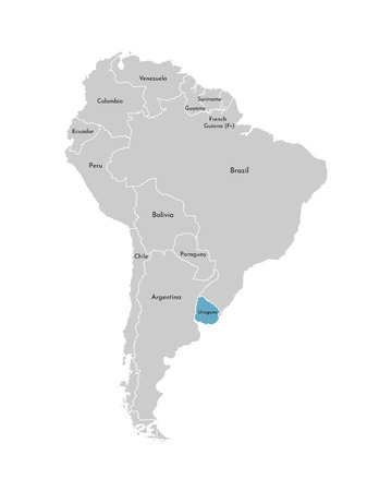 Vector illustration with simplified map of South America continent with blue contour of Uruguay. Grey silhouettes, white outline of states border.