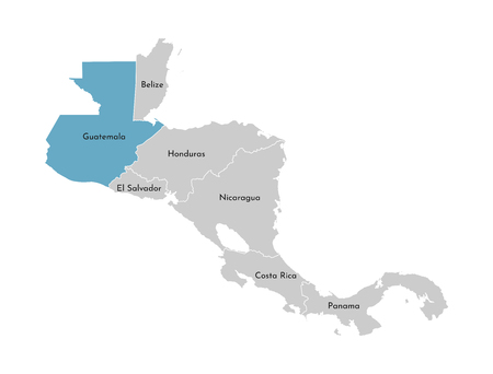 Vector illustration with simplified map of Central America region with blue contour of Guatemala. Grey silhouettes, white outline of states border. Stock Illustratie