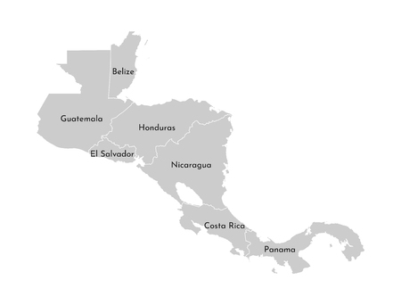 Vector illustration with simplified map of Central America region. Grey silhouettes, white outline of states borders. Stock Illustratie