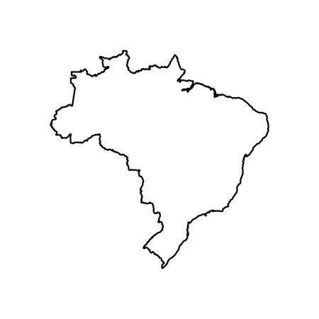Vector isolated illustration icon with black line silhouette of simplified map of Brazil. Stock Illustratie