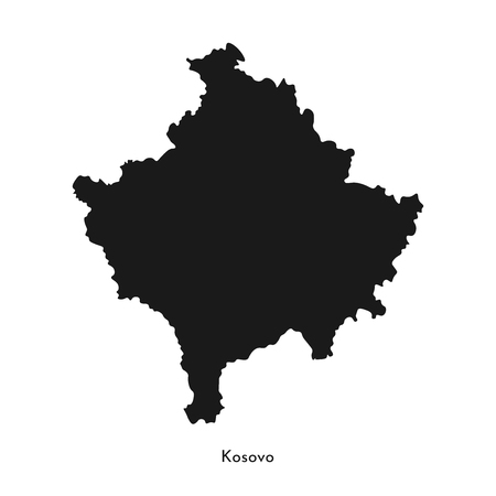 Vector isolated simplified illustration icon with black silhouette of Kosovo map. White background.