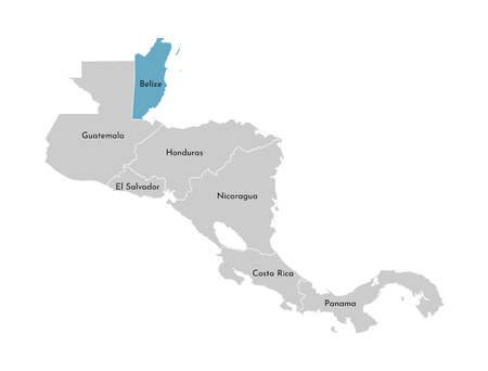 Vector illustration with simplified map of Central America region with blue contour of Belize. Grey silhouettes, white outline of states border.