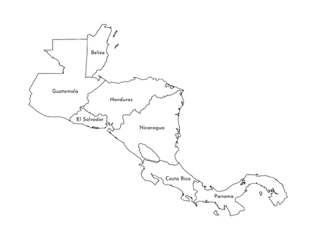 Vector illustration with simplified map of Central America. Black line silhouettes of states border. White background.