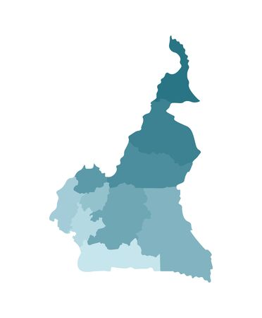 Vector isolated illustration of simplified administrative map of Cameroon; Borders of the regions. Colorful blue khaki silhouettes.