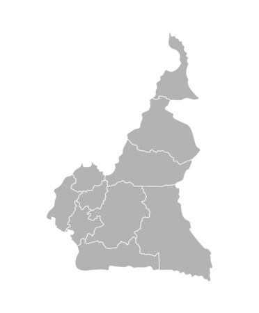 Vector isolated illustration of simplified administrative map of Cameroon; Borders of the regions. Grey silhouettes. White outline.