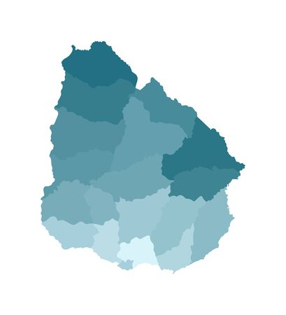 Vector isolated illustration of simplified administrative map of Uruguay. Borders of the departments (regions). Colorful blue khaki silhouettes. Ilustração