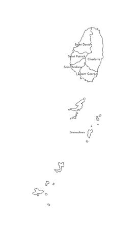 Vector isolated illustration of simplified administrative map of Saint Vincent and the Grenadines. Borders and names of the parishes (regions). Black line silhouettes. Ilustrace