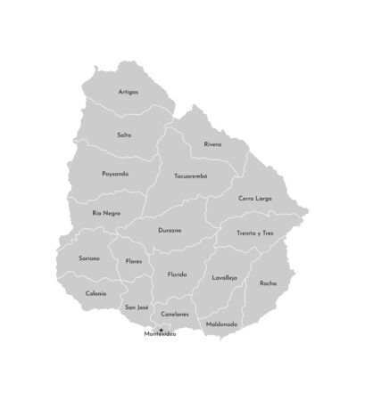 Vector isolated illustration of simplified administrative map of Uruguay. Borders and names of the departments(regions). Grey silhouettes. White outline