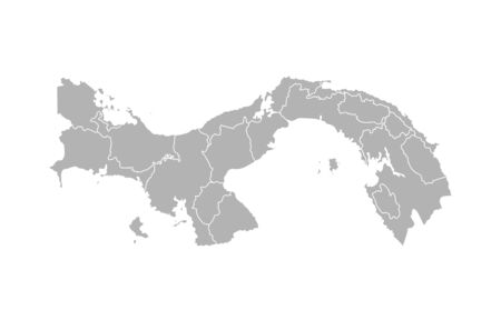 Vector isolated illustration of simplified administrative map of Panama. Borders of the provinces (regions). Grey silhouettes. White outline.
