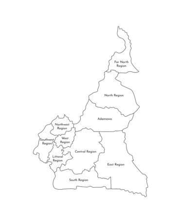Vector isolated illustration of simplified administrative map of Cameroon; Borders and names of the regions. Black line silhouettes. Illustration