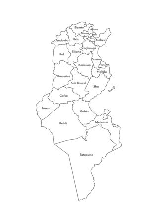 Vector isolated illustration of simplified administrative map of Tunisia. Borders and names of the governorates (regions). Black line silhouettes.